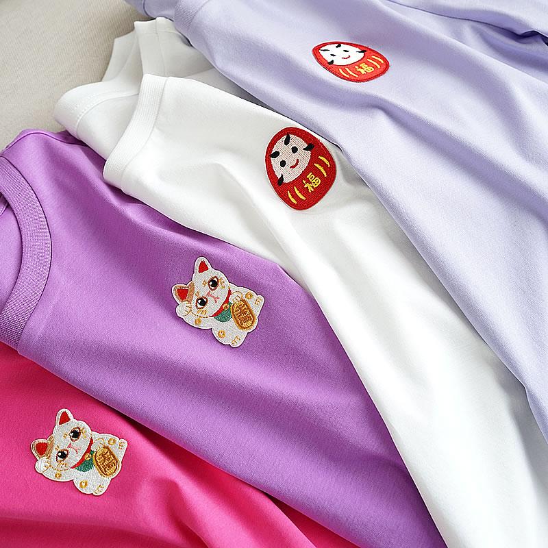 80 nouveau Mercerisé Coton Nouveau Chemises, Coton de Bande Dessinée, Femmes de Col Rond Manches Courtes T-shirt, mince Et Belle Usage D'été Nouveau S