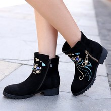 2016 New Winter Suede Women s Platform Chunky Heels Ankle Boots Round Toe Casual Retro Diamond