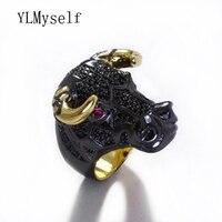 新しい動物大きなリング黒パンクデザイン2音色干支動物牛デザインoxリング珍しい宝石用女