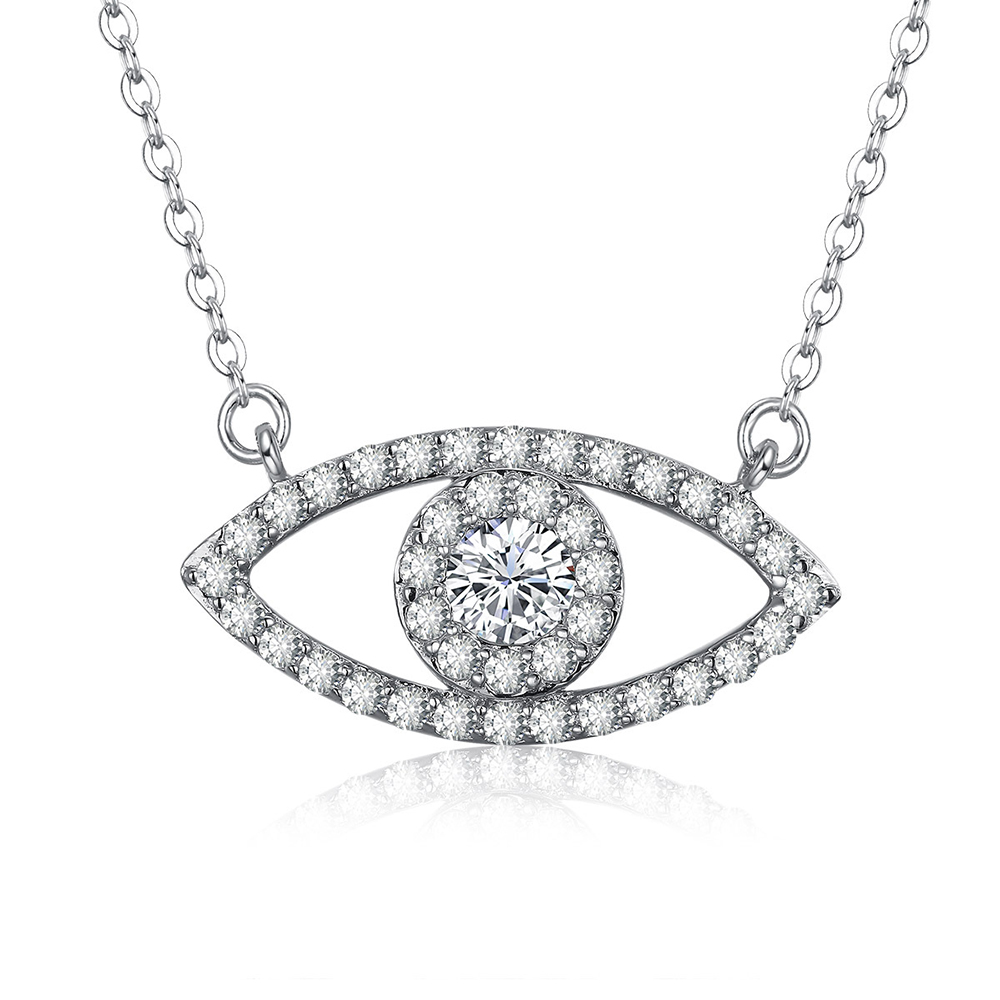 Hot Sale 925 Sterling Silver Necklaces Fashion Big Eye Crystal Pendants Necklaces for Women Party Wedding Necklaces Jewelry