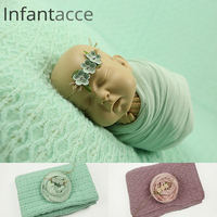 newborn photography props backdrops blanket+wrap+headband set, baby photo props cotton wraps blankets hair accessories NWB044