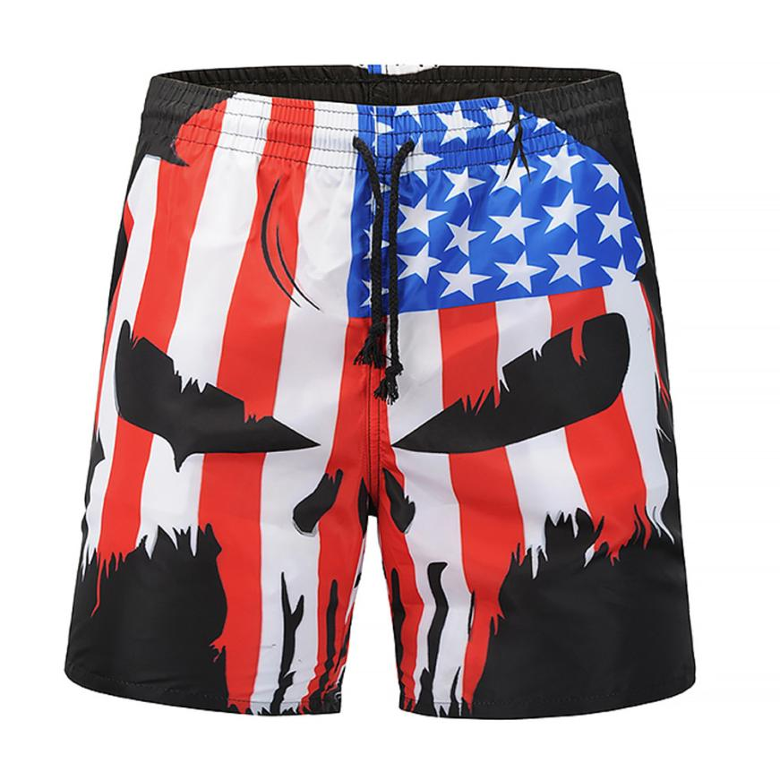 Hot 2019 Summer Men Skull flag Printed Design Cotton Casual Beach Short Pants Brand Famous Shorts Plus Size High Quality