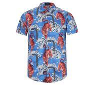 VanMe New 2017 Men Tiger Court Digital Fashion Cotton Casual Shirts Shirt High Quality Pocket Short