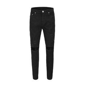 19ss long jeans men winter hip hop streetwear hole pencil pants biker jean jogger black denim kanye west long pants clothes