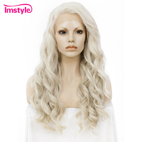 Imstyle Long Wavy Honey Ash Blonde Wig Lace Front Wigs For Women Synthetic Wig Heat Resistant Fiber 24 Inch Lace Wig Cosplay