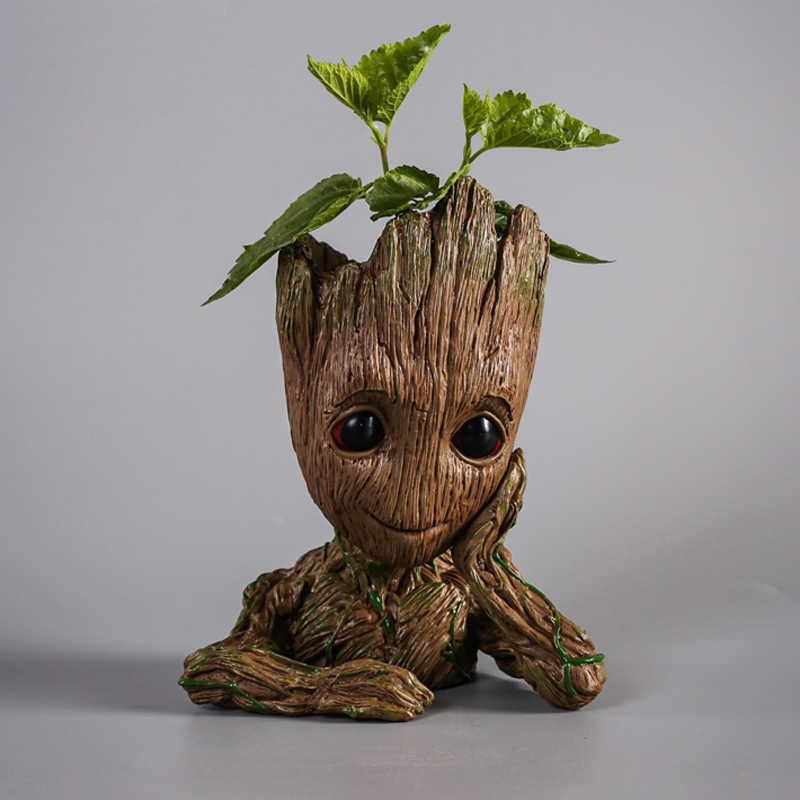 아기 화분 은하계의 수호자 복수 자 나무 남자 영웅 액션 피규어 장난감 펜 냄비 화분 꽃 냄비 선물 14cm