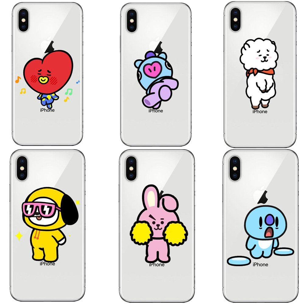 Cartoon BT21 BTS Korea Bangtan Boys Young Forever Soft silicone TPU Phone Case For iphone X 10 8 8Plus 7 6 6S Plus 5S SE Cover
