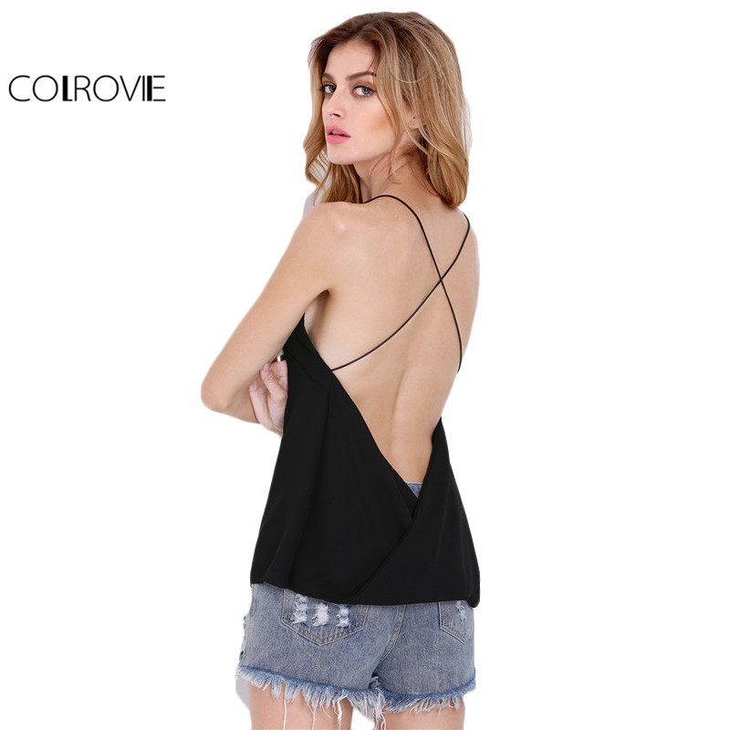 COLROVIE Sexy Backless Cami Top Women Black Slim Cross Back Loose Summer Tops V Neck Clothing 2017 Brief Casual Beach Camisole