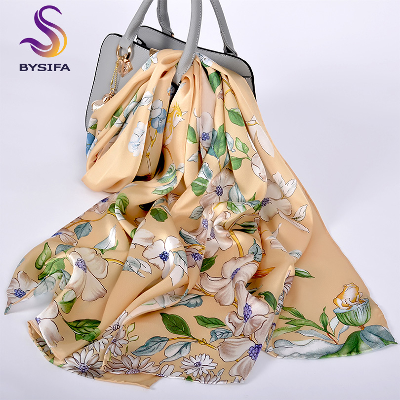 [BYSIFA] Brand Pure Silk   Scarf   Shawl Spring Fall Fashion Long   Scarves     Wraps   Luxury Top Grade Gold Yellow Neck Head Silk   Scarf