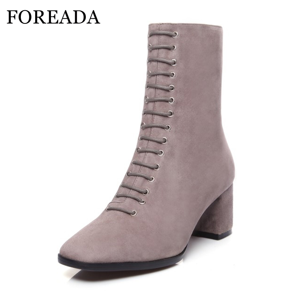 FOREADA Genuine Leather Boots Women Ankle Boots Kid Suede Leather High Heels Zip Square Toe Winter Boots Sexy Autumn Shoes Black front lace up casual ankle boots autumn vintage brown new booties flat genuine leather suede shoes round toe fall female fashion