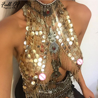 Sexy Women Metal Chain Exotic Crop Tops Sparkling Sequins Gold Silver tassel Coins Top NightClub Wear Party Burning Outfits Drop