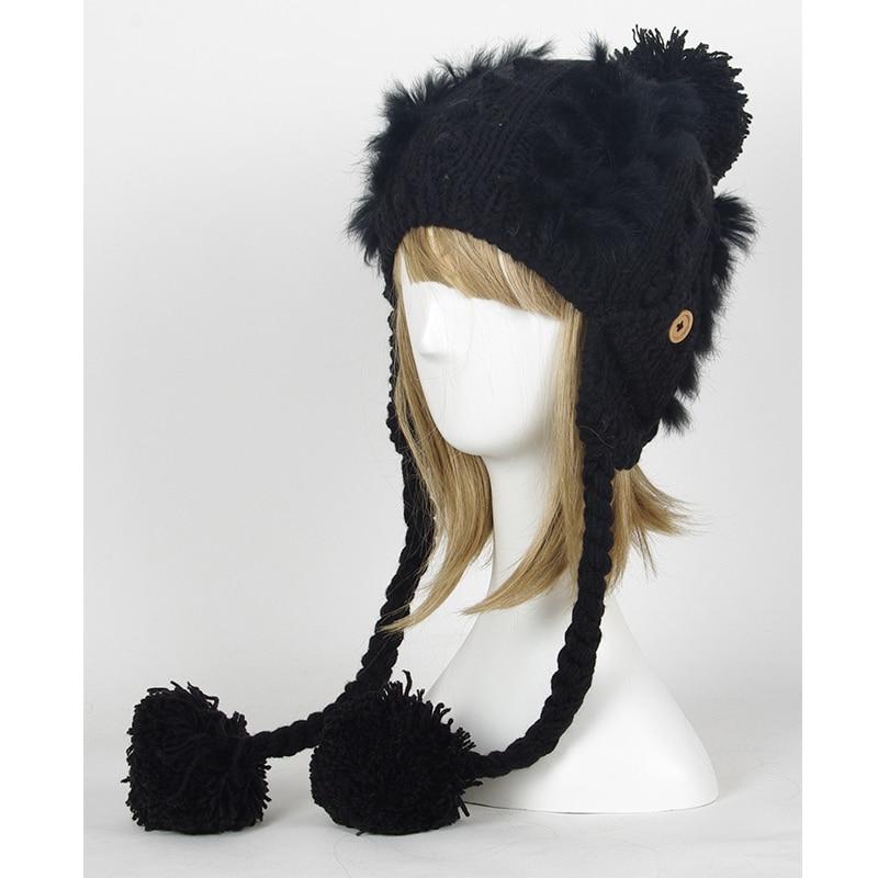 Woman Fashion Winter Knitting Hats with pompom Beanies Cap Women Girl Skullies & Beanies Hats A292 skullies beanies winter woman fashion knitting hats with pompom beanies girls warm letter b cap