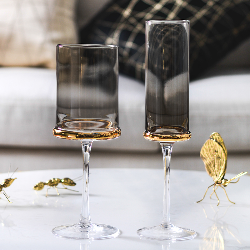 Electroplated gold wine glass Cup goblet Nordic champagne glasses Cups wedding glasses party home Drinkware glass cup in Other Glass from Home Garden