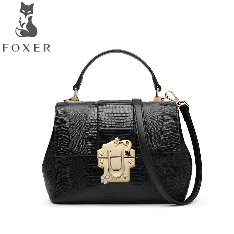 цена free delivery Cow leather handbag FOXER Women's handbag 2017 autumn new lizard pattern messenger bag Leather shoulder bag