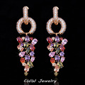 Gold Plated Long Dangling Drop Cluster Multicolored Zirconia Stone Women Earrings With Micro Cubic Zircon Paved CZ298