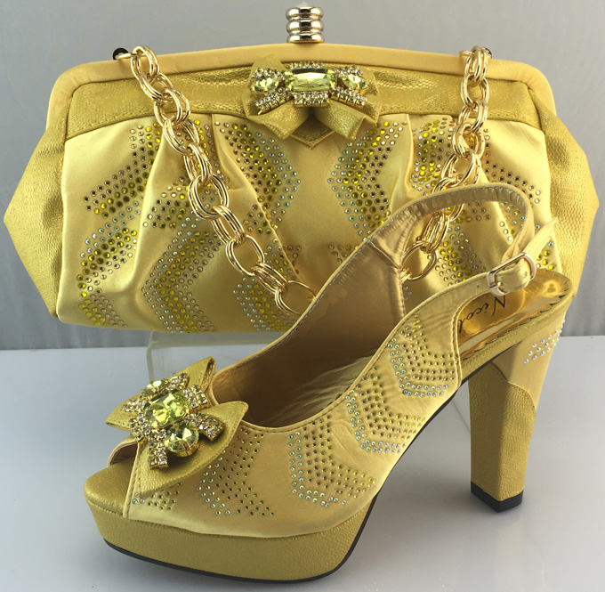 African Shoes And Matching Bags Set For ME3308 Fashion Matching Shoes And Bags Italy for Gold