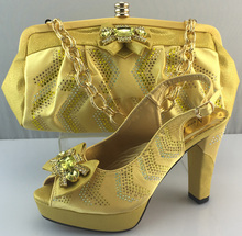 African Shoes And Matching Bags Set For ME3308 Fashion Matching Shoes And Bags Italy for Gold color size 38-42