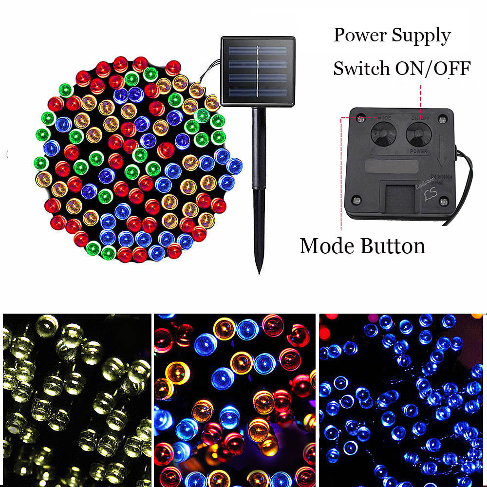 22M Solar Powered Lamp 200 Led String Fairy Lights Solar Light Outdoor For Garden Decoration 3 Mode Waterproof Christmas Garland