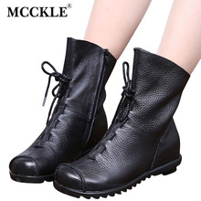 MCCKLE 2017 New Vintage Style Genuine Leather Woman Flat Booties Comfortable Soft Cowhide Black Women's Shoes Zip Ankle Boots