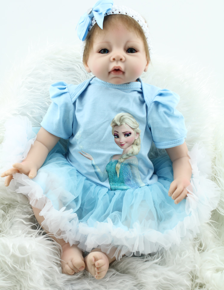 Soft Silicone Reborn Baby Doll Toy with Bule Elsa Dress Babies Reborn Play House Toys For Child Girl Fashion Birthday Brinquedos hot sale silicone reborn babies dolls gift for child kid classic play house toy girl brinquedos baby reborn doll toys
