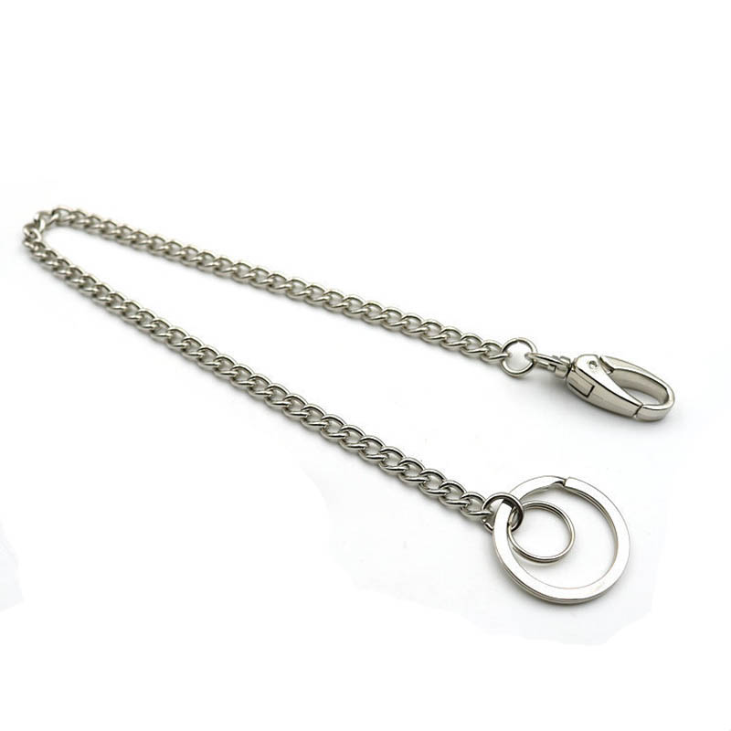 30cm Long Metal Wallet Belt Trousers Hipster Pants Chain Jean Key Chain Silver Ring Clip Key ring Women's Jewelry Keychain D1535