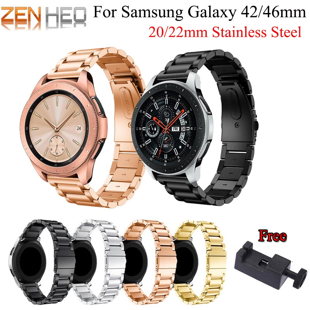 Stainless Steel Strap for Samsung Galaxy Watch 42mm 46mm Band 20mm 22mm Width Wristband for Samsung Gear S3 S2 Watch Bracelet in Smart Accessories from Consumer Electronics