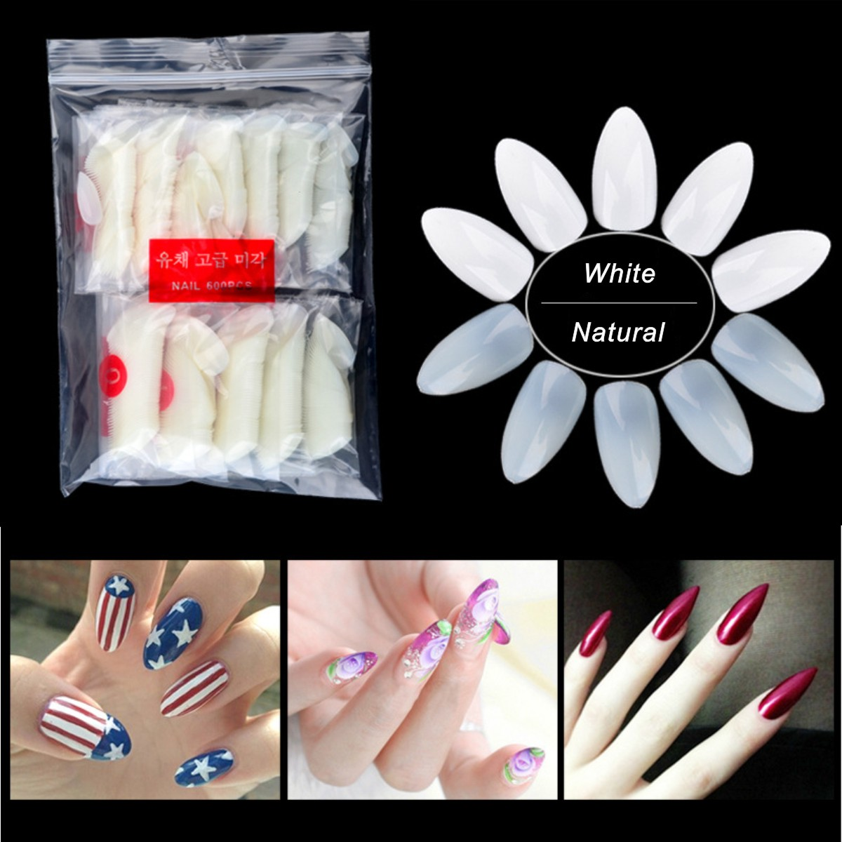 Купить 500 шт натуральные белые накладные ногти для французского салона