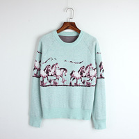 Winter Chinese Style Galloping Horse Jacquard Pattern Long Sleeved Wool Shirt Bottoming Sweaters