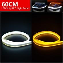 2x Ultrafine DRL Flexible LED Strip Daytime Running Lights Soft Car Headlight Turn Signal Brake Lamps 45/60cm Slim Amber