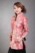 Orange Chinese Women's Silk Satin Embroidery Long Jacket Coat Flowers Size S M L XL XXL XXXL  Free Shipping MN 0113