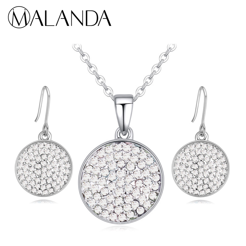 Us 13 59 20 Off Malanda Brand Crystals From Swarovski Fashion Round Pendants Necklaces Earrings For Women Wedding Jewelry Set Gift In