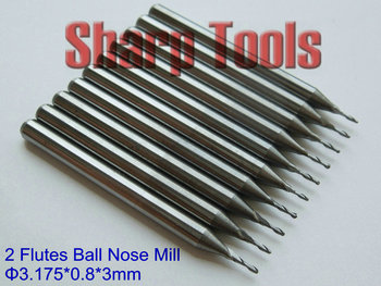 Precision 3.175X0.8X3mm 2 Flutes Ball Nose Bits, CNC Engraving Tools Tungsten Steel Carbide End Mill Cutters for 3D Woodworking