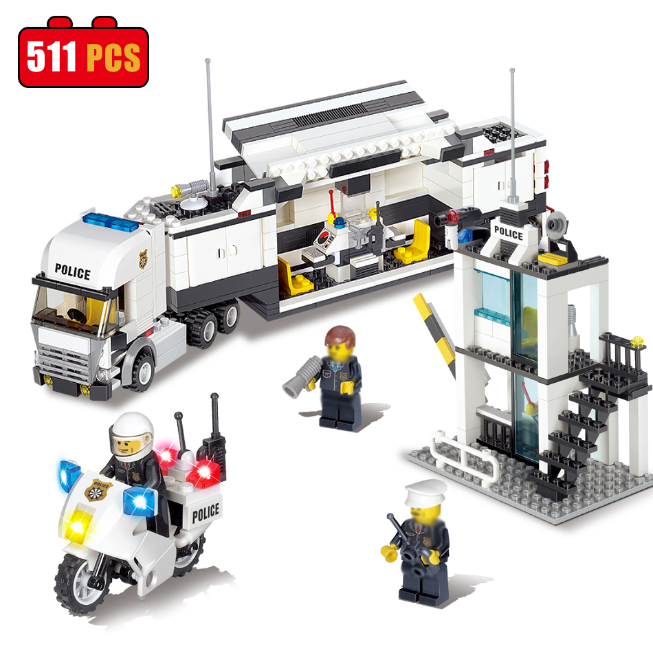цена на KAZI Police Station Truck Building Blocks Compatible Legoe City DIY Construction Bricks Toys Birthday Gifts For Kids Children
