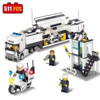 KAZI 511PCS Educational Building Blocks Bricks City Police Station Coastal Guard SWAT Truck Motorcycle Toys For