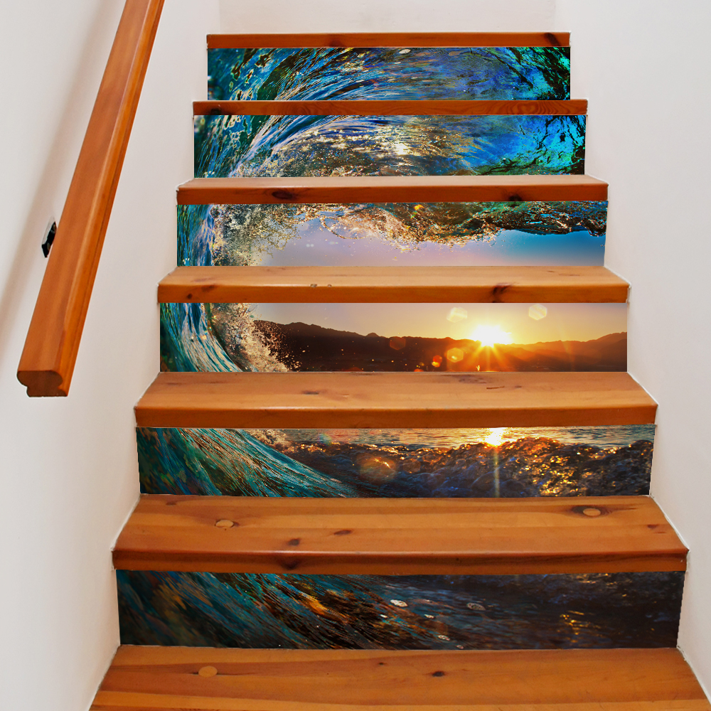 6 Pieces/Set Creative DIY 3D Stairway Stickers Sea Sunrise Waves Pattern for Room Stairs Decoration Floor <font><b>Wall</b></font> Staircase Sticker