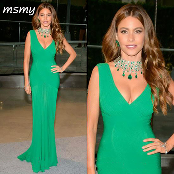 Sofia Vergara Emerald Green Evening Dress Sexy V Neck Women Wear Special Occasion Dress Prom Party Gown