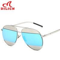 DILICN Mens Vintage Metal Aviator Sunglasses Women Sliver Frame Blue Mirror Sun Glasses Retro Classic Oculos
