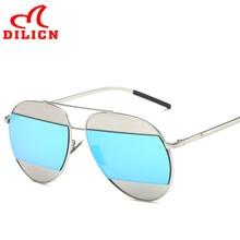 DILICN Mens Vintage Metal Aviator Sunglasses Women Silver Frame Blue Mirror Sun Glasses Retro Classic Oculos De Sol Feminino