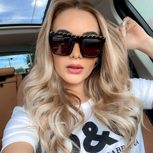XYKGR new personality perforated metal chain sunglasses ladies square fashion black men and women punk glasses UV400
