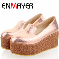ENMAYER  Hot Sale Women Large Size 34-43 Shoes Sponge Cake Sole Ladies Casual Shoes 3 Color Platform Shoes Women Slip-On Shoes