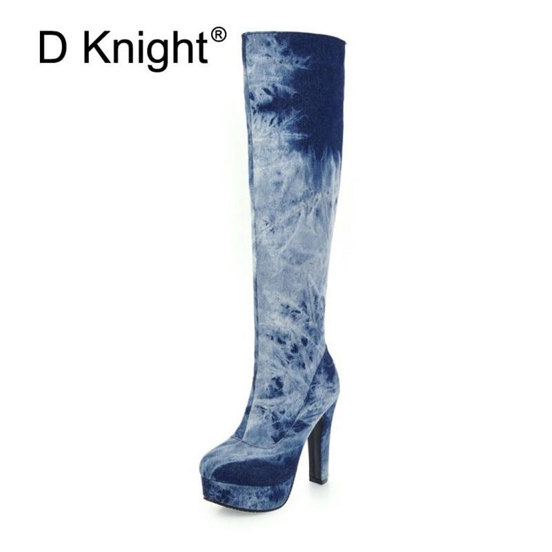 D Knight Stretch Denim Women Knee-high Boots 2018 Autumn Winter Lady Platform High Heels Large Size 33-48 Warm Snow Boots Shoes
