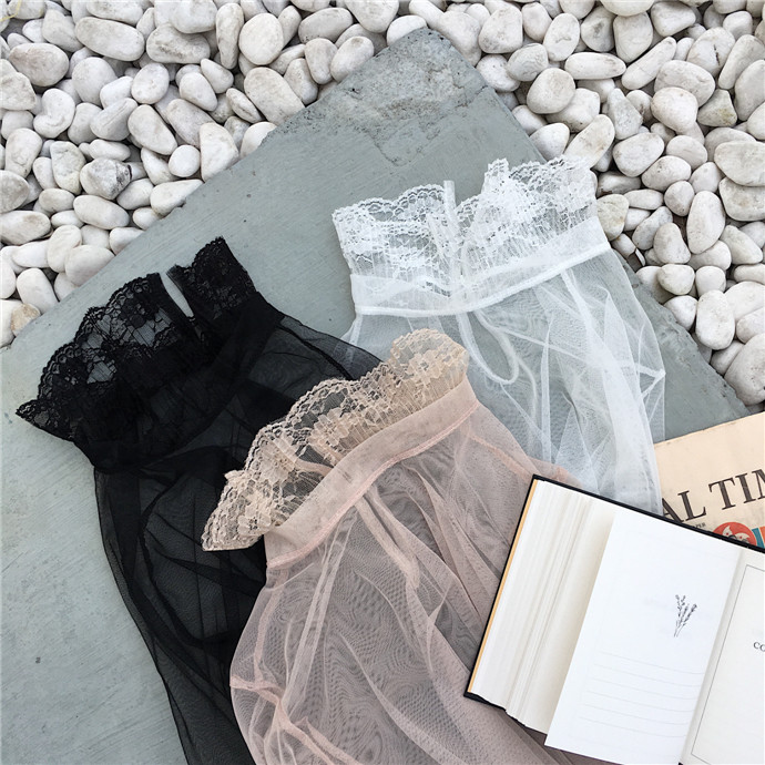Women Sexy Slim Transparent Mesh T Shirts Patchwork Lace Full Lantern Sleeve Solid T-shirts Female Solid Elegant Tops Tees
