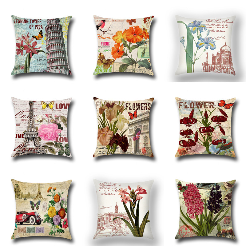 Vintage Flower Cotton Linen Throw Pillow Case Cushion Cover Car Sofa Decorative Flower Pillow Cove Pillowcase Home Decoration