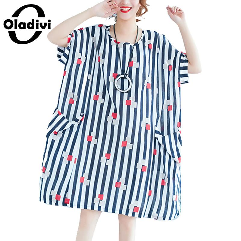 Oladivi Brand Fashion Strip Print Cotton Linen Casual Dess Women Big Plus Size Loose Summer Dresses Ladies Long Shirt Tunic 2018