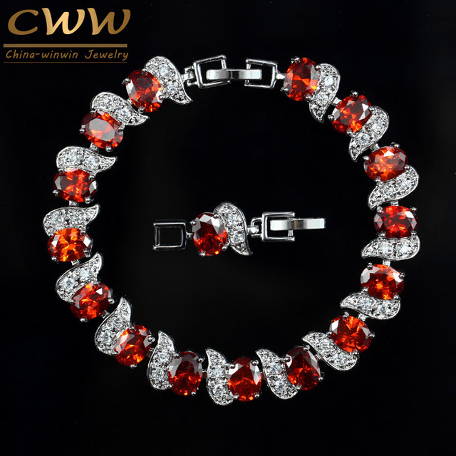 CWWZircons Exquisite Brand Design Fashion Ladies Jewelry White Gold Color Red Crystal Women Bracelet With Cubic Zircon CB177