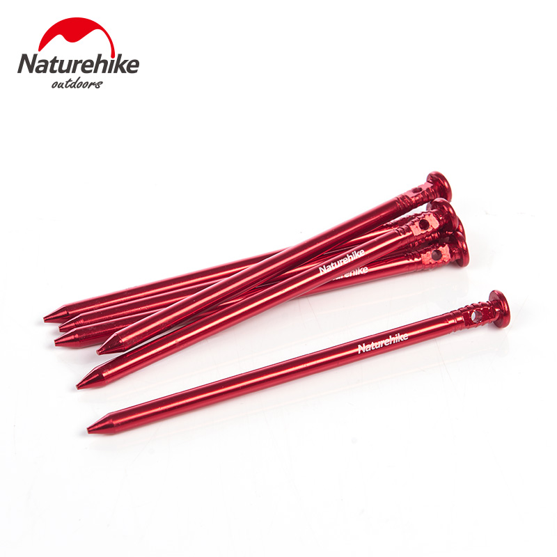 Naturehike Tent Pegs 6pcs/Lot Outdoor Beach Cylindrical Flat Head 7001 Aluminium Alloy Tent Fixed Nails
