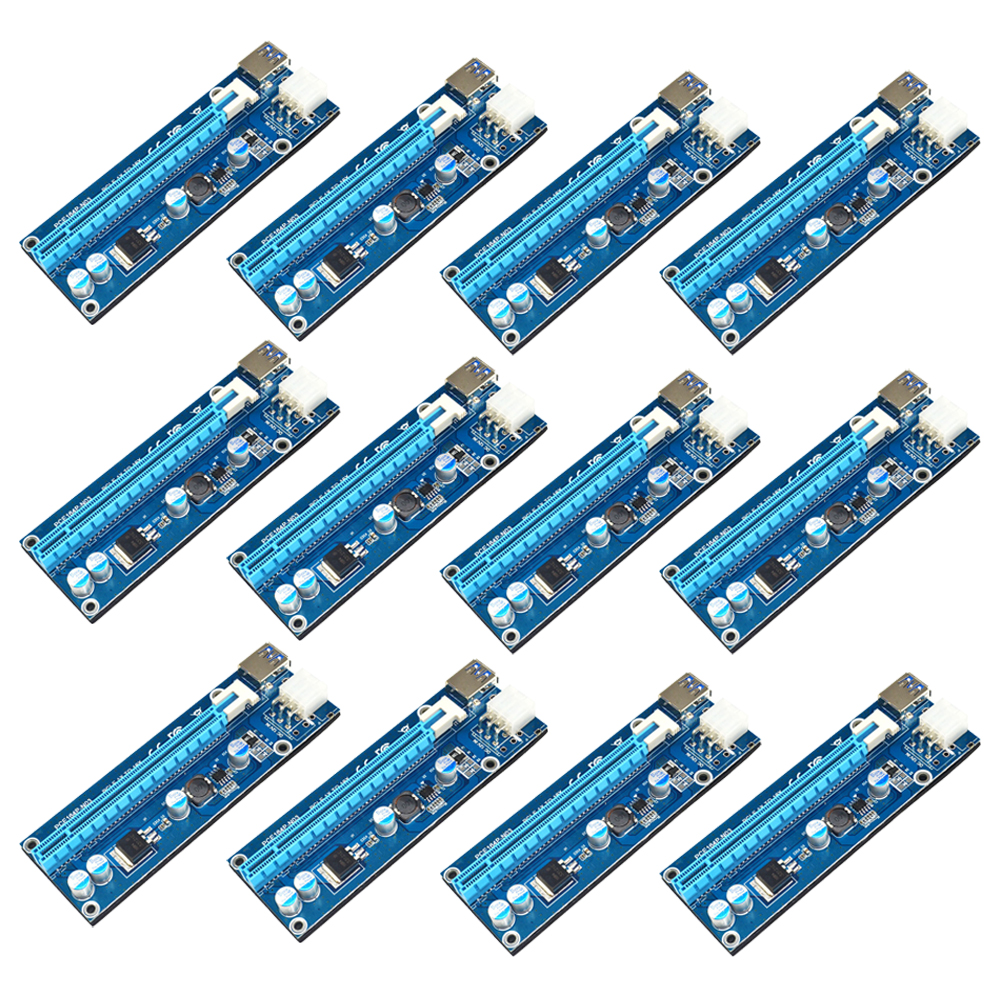 12pcs/pack USB 3.0 PCIe PCI-E Express 1x to 16x Extender Riser Card Adapter with 6PIN power Cable for BitCoin Mining Machine riser pci e x1 pcie 1x to pci express x1616x mining machine enhanced extender riser card adapter with usb 3 0