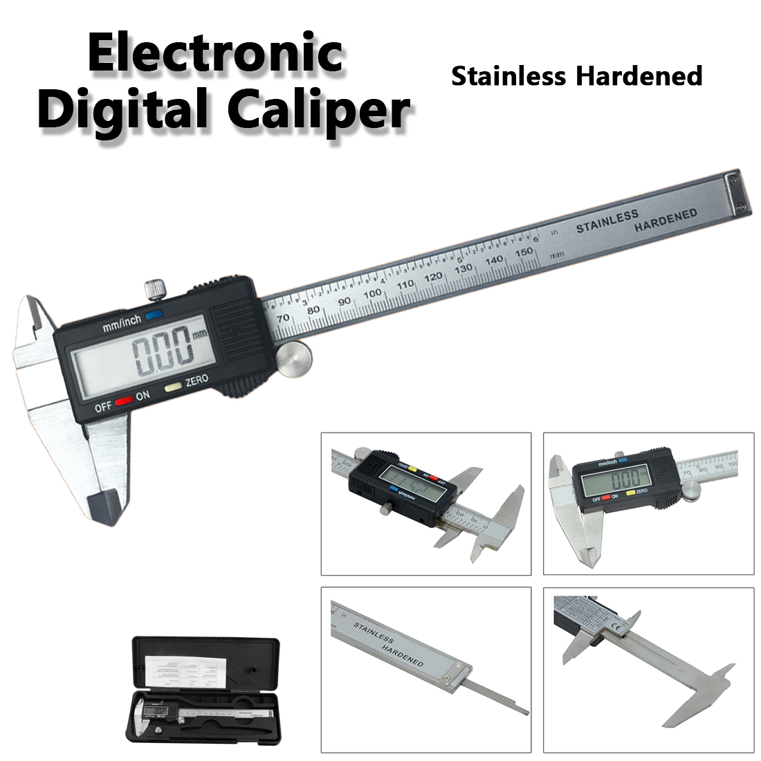 Фото Electronic Depth Gauge 6 inch / 150mm Vernier Metric Digital Caliper with LCD Display Stainless Steel Measuring Instruments Tool
