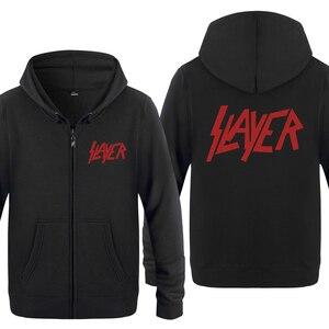 Image 1 - Slayer zespół rockowy bluzy mężczyzn 2018 mężczyzna zamek polar z kapturem swetry rozpinane