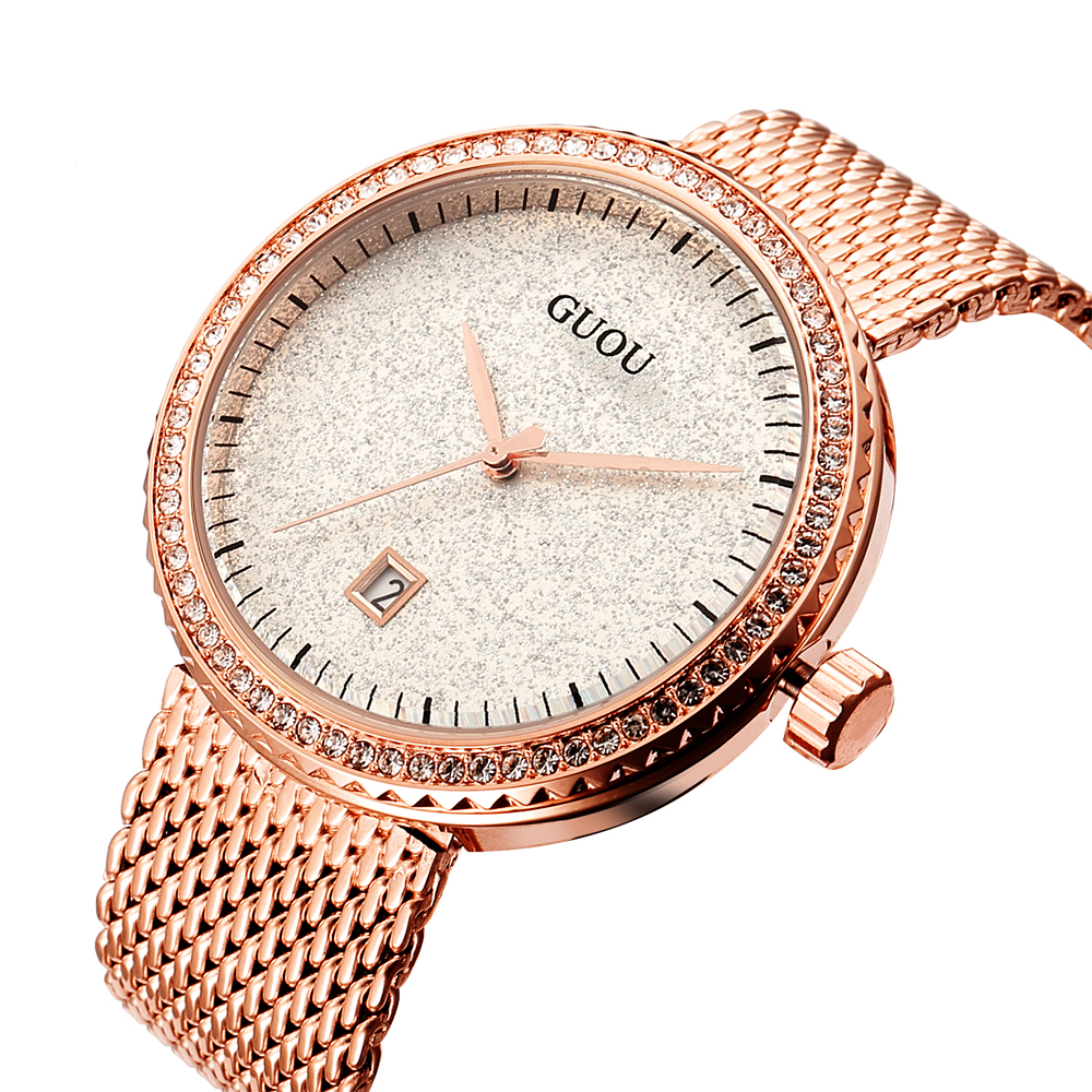 GUOU Women Watches Top Brand Luxury Stainless Steel Mesh Band Gold casual Watch Ladies Business quartz watch Relogio Feminino bgg new famous top brand gold casual quartz watch women metal mesh stainless steel dress watches relogio feminino clock hot sale